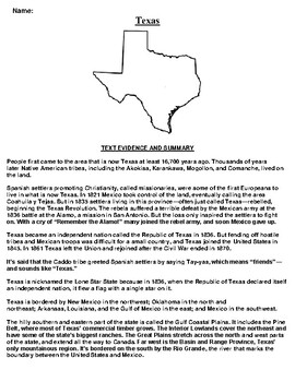 Texas Text Evidence and Summary Assignment