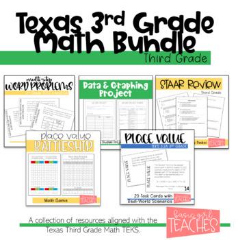 3rd Grade Math TEKS Aligned Activities Bundle