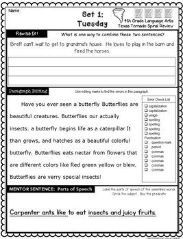 4th Grade Texas Tornado Daily Revise & Edit TEKS Spiral Review Part 1