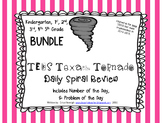 Texas Tornado Spiral Review BUNDLE Kinder, 1st, 2nd, 3rd, 4th, 5th Grades TEKS