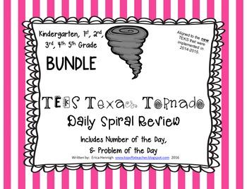 Texas Tornado Spiral Review BUNDLE Kinder, 1st, 2nd, 3rd,
