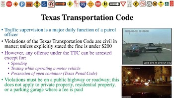 Texas Transportation Code Notes for Law Enforcement