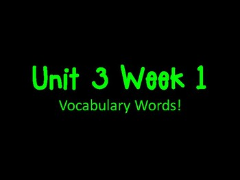 Texas Treasures First Grade Vocabulary Unit 3