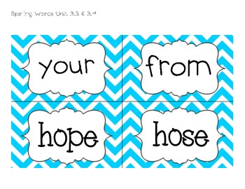 Texas Treasures Grade 1 - Spelling Words - Unit 3