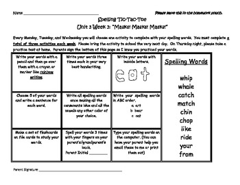 Texas Treasures Unit 3 Reading and Spelling Activities