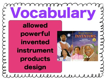 Texas Treasures Vocabulary Activities for African American Inventors