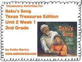 Texas Treasures Vocabulary Activities for Babu's Song