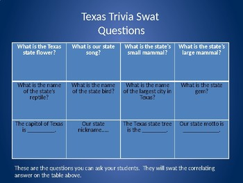 Texas Trivia Swat and Back to Back Texas Games