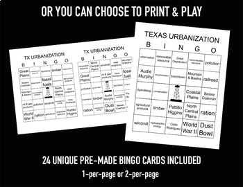 Texas Urbanization Bingo