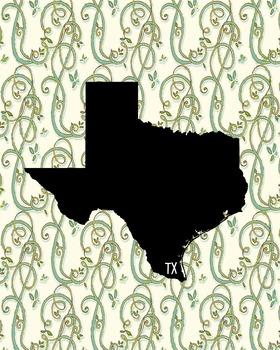 Texas Vintage State Map or Poster Class Decor, Classroom Decoration