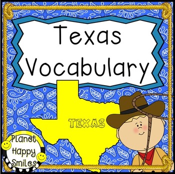 Texas ~ Vocabulary cards/header and Reader, Planet Happy Smiles