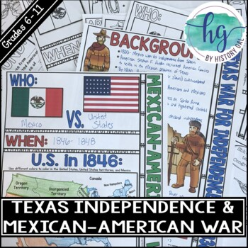 Texas War for Independence and the Mexican American War Doodle Notes