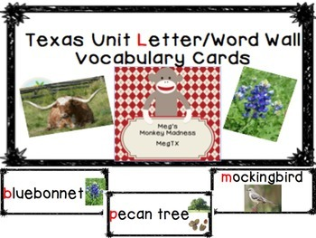 Texas Western Unit Letter/Word Wall Vocabulary