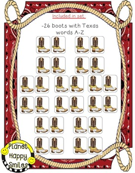 Texas Write the Room (Boots A-Z)  ~ Boot Scootin' Boogie