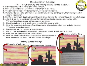 Texas Writing Activity ~ Texas Sunsets