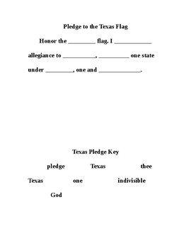 Texas and USA Pledge Fill-in-the-Blanks