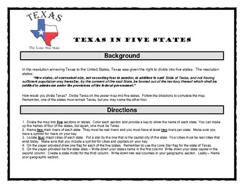 Texas in Five States Map Activity