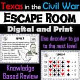 Texas in the Civil War Activity: Escape Room Social Studies