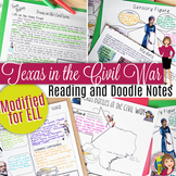 Texas in the Civil War DOODLE NOTES and Readings Modified for ELL or 4th Grade