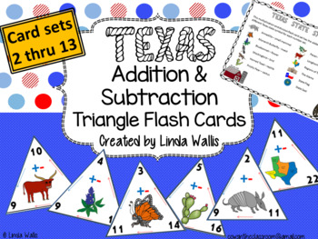 Texas-themed Addition & Subtraction Triangle Flash Cards