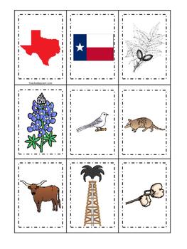 Texas themed Memory Matching and Word Matching preschool c