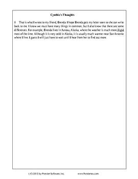 Texas Staar Reading - My Letter to Brenda