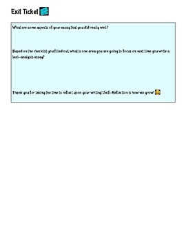 Text-Analysis Essay Checklist/Color Coding Strategy and Self-Reflection