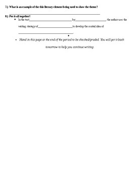 Text Analysis Essay Planning Page