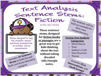 Fiction Sentence Stems for Text Analysis by Mrs Ray's Realm | TpT