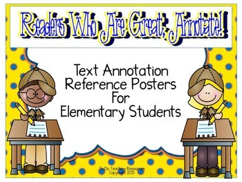 Text Annotation Posters For Elementary Students