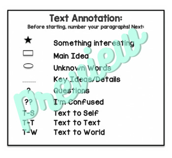 Text Annotation Reminder Card for Students