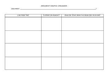 Text Argument Graphic Organizer + Paragraph Structure Outline