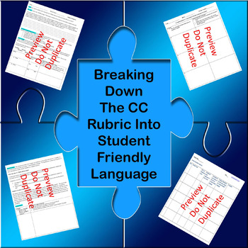 Text Based Analysis Rubric (CC): Breaking It Into Student Friendly Language