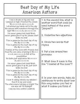 Text Based Comprehension and Grammar through Song Lyrics FREE PRINTABLE!