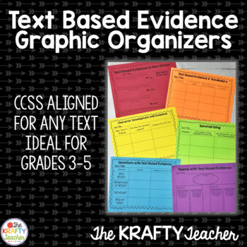 Text Based Evidence Organizers Common Core, CCSS, Upper Gr