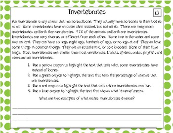 Differentiated Text Based Evidence Passages: Science Edition Invertebrates