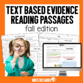 Text Evidence Fall Reading Passages Digital Distance Learning