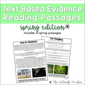Text Based Evidence Reading Passages - Spring
