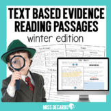 Text Evidence Winter Reading Passages Digital Distance Learning