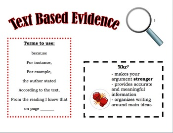 Text Based Evidence Reference Sheet