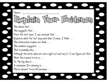 Evidence Explanation Sentence Starters for Opinion & Explanatory Writing