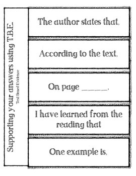 Text Based Evidence notes page (foldable for interactive notebook)