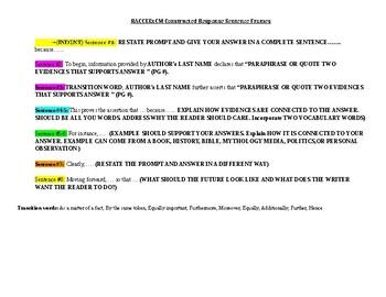 Text Based Informative Constructed Response Sentence Frames grades 6-12