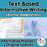 Text-Based Informative Writing Practice--Animal Adaptations