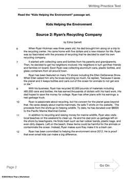 Text-Based Informative Writing Practice--Kids Helping the Environment