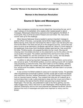 Text-Based Informative Writing Practice--Women in the American Revolution