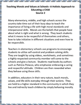 Text Based Opinion Writing-Should We Teach Morals and Values in Schools?