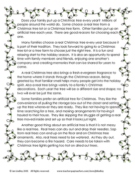 Free Christmas Persuasive Writing in Response to Text