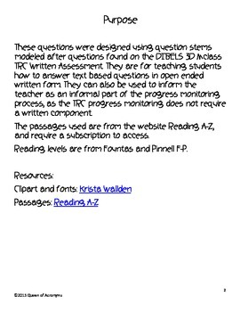 Text Based Questioning Writing Assessment: Practice MClass 3D