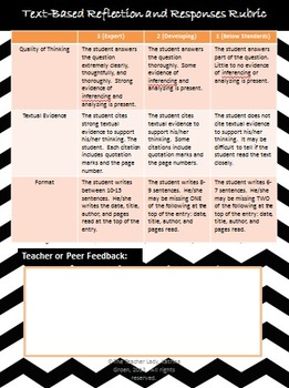 Text-Based Reflection and Response to Literature Prompts - Common Core Aligned